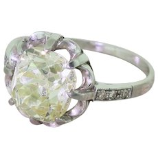 Art Deco 3.28 Carat Light Greenish Yellow Old Mine Cut Diamond Engagement Ring, circa 1925
