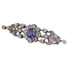 Art Nouveau Sapphire & Old Cut Diamond Bar Brooch, circa 1890