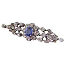 Art Nouveau Sapphire & Old Cut Diamond Bar Brooch, circa 1890