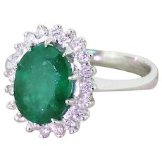 Late 20th Century 2.00 Carat Emerald & Diamond Cluster Ring, circa 1980