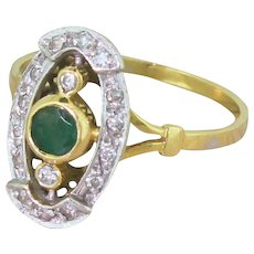 Mid Century Emerald & Diamond Cluster Ring, French, circa 1960