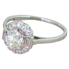 Mid Century 1.28 Carat Old Cut & Baguette Cut Diamond Cluster Ring, circa 1960