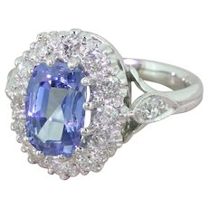 Mid Century Natural Sapphire & Old Cut Diamond Cluster Ring, circa 1960