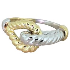 "HERMES 18k White & Yellow Gold ""Rope"" Ring, French, circa 1965"
