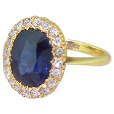 Art Deco 3.70 Carat Natural Unheated Sapphire & Diamond Cluster Ring, circa 1945