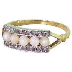 Art Deco Five Pearl & Rose Cut Diamond Ring, French, circa 1915