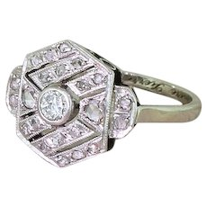 Art Deco Transitional & Rose Cut Diamond Cluster Ring, French, dated 1941