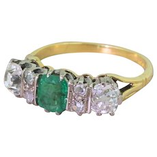 Art Deco Emerald & Old Cut Diamond Three Stone Ring, circa 1935