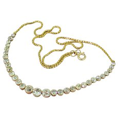 Art Deco 4.00 Carat Old Cut Diamond Line Necklace, circa 1930