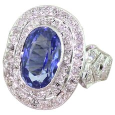 Retro 5.22 Carat Ceylon Sapphire & Diamond Double Cluster Ring, circa 1960