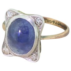 Edwardian Cabochon Sapphire & Eight-Cut Diamond Ring, circa 1905