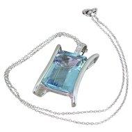 Mid Century 27.00 Carat Emerald Cut Aquamarine Pendant, circa 1965