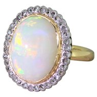 Art Deco 7.00 Carat Opal & Rose Cut Diamond Cluster Ring, circa 1915