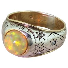 Mid Century Opal Solitaire Ring, circa 1955
