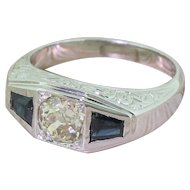 Art Deco 0.90 Carat Old Cut Diamond & Tapered Baguette Cut Sapphire Trilogy Ring, circa 1930