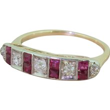 Art Deco Old Cut Diamond & Ruby Half Hoop Ring, circa 1925
