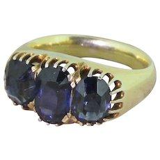Victorian 3.50ct Natural Sapphire Three Stone Ring, circa 1880