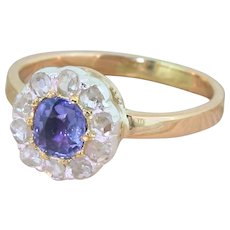 Victorian Sapphire & Rose Cut Diamond Target Cluster Ring, circa 1900