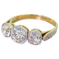 Art Deco 2.96 Carat Old Cut Diamond Trilogy Ring, circa 1925