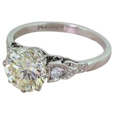 Retro 2.47 Carat Transitional Cut Diamond Engagement Ring, circa 1945