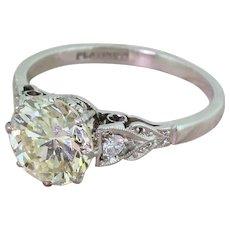 Retro 2.47 Carat Transitional Cut Diamond Engagement Ring, circa 1945