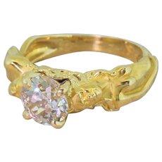 "Mid Century 1.42 Carat Old Cut Diamond ""Lovers"" Solitaire Ring, circa 1960"