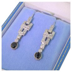 Art Deco Diamond & Sapphire Drop Earrings, circa 1920