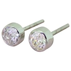 0.90 Carat Old Cut Diamond Stud Earrings, 18k White Gold