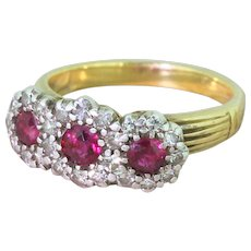 Art Deco Ruby & Diamond Triple Daisy Cluster Ring, circa 1940