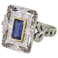 Edwardian 1.18 Carat Natural Sapphire & Diamond Ring, French, circa 1910
