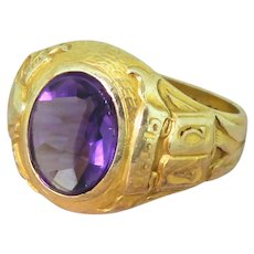 TIFFANY & CO. Oval Cut Amethyst College Class Ring, dated 1940