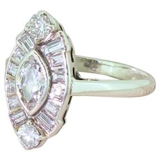 Art Deco 1.25 Carat Old Marquise & Baguette Cut Diamond Cluster Ring, circa 1940