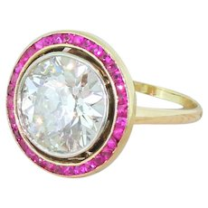 Art Deco 4.23 Carat Old Cut Diamond & Ruby Target Ring, French, circa 1940