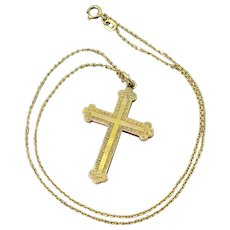 Victorian 15k Gold Cross Pendant, circa 1890