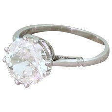 Art Deco 1.75 Carat Old Cut Diamond Engagement Ring, French, circa 1920
