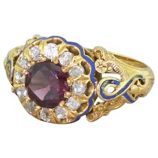 Victorian 1.19 Carat Garnet, Old Cut Diamond & Blue Enamel Cluster Ring, circa 1870