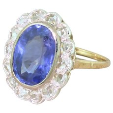 Art Nouveau 4.60 Carat Natural Ceylon Sapphire & Rose Cut Diamond Ring, French, circa 1900