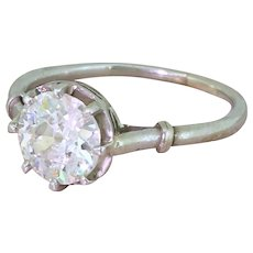 Art Deco 1.17 Carat Old Cut Diamond Engagement Ring, French, circa 1920