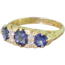 Victorian Sapphire & Old Cut Diamond Carved Half Hoop Ring, dated 1896