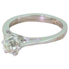 Modernist 1.27 Carat Old Cut Diamond Engagement Ring, circa 1960