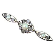 Victorian Natural Pearl & Old Cut Diamond Brooch, circa 1880