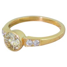 Late 20th Century 1.01 Carat Light Yellow Brilliant Cut Diamond Ring, circa 1975