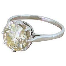 Mid Century 2.08 Carat Round Brilliant Cut Diamond Engagement Ring, circa 1955