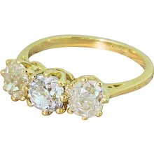 Art Deco 2.56 Carat Old Cut Diamond Trilogy Ring, circa 1930