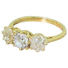 Art Deco 2.56 Carat Old Cut Diamond Trilogy Ring, circa 1930