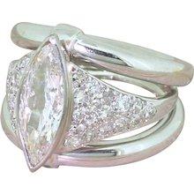 Art Deco 1.31 Carat Old Marquise Cut Diamond Ring, French, circa 1925