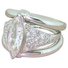 Art Deco 1.31 Carat Old Marquise Cut Diamond Ring, French, circa 1925