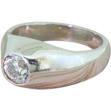 1.15 Carat Old Cut Diamond Solitaire Ring, Platinum