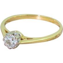 Mid Century 0.70 Carat Old Cut Diamond Engagement Ring, circa 1965