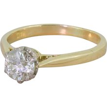 Late 20th Century 0.77 Carat Old Cut Diamond Engagement Ring, dated 1975
